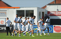Partizan Belgrade squad during the pre-match warm-up <br /> <br /> Photographer Kevin Barnes/CameraSport<br /> <br /> UEFA Europa League 2nd Qualifying Round 1st Leg - Connah's Quay Nomads v Partizan Belgrade - Thursday July 25th 2019 - Belle Vue Stadium - Rhyl<br />  <br /> World Copyright © 2019 CameraSport. All rights reserved. 43 Linden Ave. Countesthorpe. Leicester. England. LE8 5PG - Tel: +44 (0) 116 277 4147 - admin@camerasport.com - www.camerasport.com