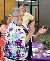 NWA Democrat-Gazette/DAVID GOTTSCHALK Mary Faye Jones stands Thursday, August 2, 2018, during the 2018 Hall of Honor Luncheon hosted by the Fayetteville Public Education Foundation at Fayetteville High School. The 2018 inductees are Dr. James Hunt, George Spencer, Peggy Taylor Lewis and Jones.
