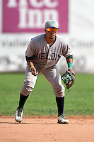 Beloit Snappers shortstop Melvin Mercedes (2) during a game against the Clinton LumberKings on August 17, 2014 at Ashford University Field in Clinton, Iowa.  Clinton defeated Beloit 4-3.  (Mike Janes/Four Seam Images)