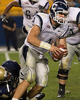 22 September 2007: Connecticut quarterback Tyler Lorenzen..The Connecticut Huskies defeated the Pitt Panthers 34-14 on September 22, 2007 at Heinz Field in Pittsburgh, Pennsylvania.
