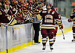 10 January 2009: Boston College Eagles' forward Brock Bradford, a Senior and Team Captain from Burnaby, BC, celebrates scoring Boson's first goal of the game during the second matchup of a weekend series against the University of Vermont Catamounts at Gutterson Fieldhouse in Burlington, Vermont. The Catamounts rallied from an early 2-0 deficit to defeat the visiting Eagles 4-2. Mandatory Photo Credit: Ed Wolfstein Photo
