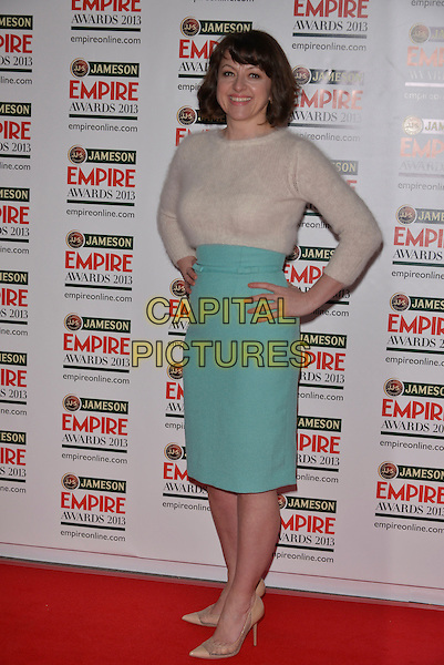 Jo Hartley.The 18th Jameson Empire Film Awards at Grosvenor House, London, England..March 24th, 2013.full length white mohair sweater jumper blue turquoise skirt hands on hips.CAP/PL.©Phil Loftus/Capital Pictures.
