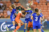Houston, TX - Wednesday June 28, 2017: Boston Breakers  Goalkeeper, Sammy Jo Prudhomme punches the ball away from Carli Lloyd during a regular season National Women's Soccer League (NWSL) match between the Houston Dash and the Boston Breakers at BBVA Compass Stadium.