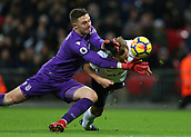 9th December 2017, Wembley Stadium, London England; EPL Premier League football, Tottenham Hotspur versus Stoke City; Goalkeeper Jack Butland of Stoke City clashes with Harry Kane of Tottenham Hotspur