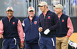 Team USA members Tiger Woods, Steve Stricker, Bubba Watson and Jim Furyk walk off the 1st tee during Practice Day 3 of the The 2010 Ryder Cup at the Celtic Manor, Newport, Wales, 29th September 2010..(Picture Eoin Clarke/www.golffile.ie)