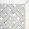 Fraser, a stone waterjet mosaic, shown in Carrara Venetian honed and honed Thassos, is part of the Altimetry® collection by New Ravenna.