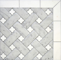 Fraser, a stone waterjet mosaic, shown in Carrara Venetian honed and honed Thassos, is part of the Altimetry&reg; Collection for New Ravenna.<br />