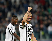 Calcio, Champions League: Gruppo D - Juventus vs Siviglia. Torino, Juventus Stadium, 30 settembre 2015.  <br /> Juventus&rsquo; Leonardo Bonucci celebrates at the end of the Group D Champions League football match between Juventus and Sevilla at Turin's Juventus Stadium, 30 September 2015. Juventus won 2-0.<br /> UPDATE IMAGES PRESS/Isabella Bonotto