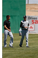 Madison Bumgarner (left) and Tim Alderson (right)  -  2009 San Jose Giants (California League) before a game against the High Desert Mavericks at Maverick Stadium, Adelanto, CA - 04/26/2009..Photo by:  Bill Mitchell/Four Seam Images