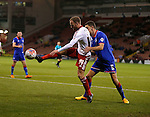 Matt Done of Sheffield Utd tussles with James Wilson of Oldham Athletic - FA Cup Second round - Sheffield Utd vs Oldham Athletic - Bramall Lane Stadium - Sheffield - England - 5th December 2015 - Picture Simon Bellis/Sportimage