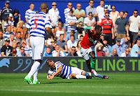 FAO SPORTS PICTURE DESK<br /> Pictured: Clint Hill of QPR (C) tackling Nathan Dyer of Swansea (R). Saturday 18 August 2012<br /> Re: Barclay's Premier League, Queens Park Rangers v Swansea City FC at Loftus Road Stadium, London, UK.