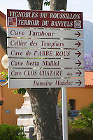 Street sign: Tambour, Abbe Rous Berta Maillol and more. Banyuls sur Mer, Roussillon, France