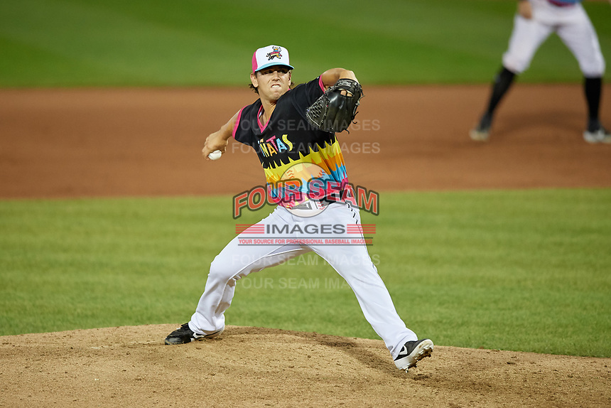 Erie Piñatas pitcher Joe Navilhon (44) during an Eastern League game against the Las Ardillas Voladoras de Richmond on August 28, 2019 at UPMC Park in Erie, Pennsylvania.  Richmond defeated Erie 4-3 in the second game of a doubleheader.  (Mike Janes/Four Seam Images)