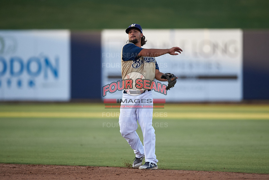 AZL Brewers Gold second baseman Matthew Mika (15) throws to first base during an Arizona League game against the AZL Brewers Blue on July 13, 2019 at American Family Fields of Phoenix in Phoenix, Arizona. The AZL Brewers Blue defeated the AZL Brewers Gold 6-0. (Zachary Lucy/Four Seam Images)
