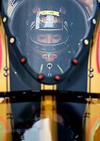 Aug 20, 2017; Brainerd, MN, USA; NHRA top fuel driver Leah Pritchett during the Lucas Oil Nationals at Brainerd International Raceway. Mandatory Credit: Mark J. Rebilas-USA TODAY Sports
