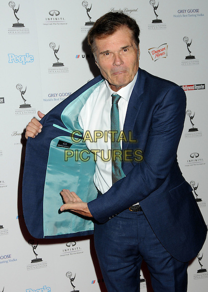 FRED WILLARD .62nd Primetime Emmy Awards Nominee Reception held at the Pacific Design Center, West Hollywood, California, USA..August 27th, 2010.half length white shirt opening lining jacket blue white green funny tie.CAP/ADM/BP.©Byron Purvis/AdMedia/Capital Pictures.