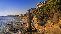 Aerial over the Pirate Tower at Victoria Beach in Laguna Beach California, shot with Phantom 3
