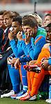 Nederland, Amsterdam, 7 september 2012.Kwalificatiewedstrijd WK 2014.Nederland-Turkije.De reservebank van Nederland. Met o.a. 3e van rechts Klaas Jan Huntelaar van Nederland