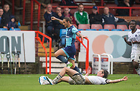 Sam Saunders of Wycombe Wanderers rides a James Rowe of Aldershot Town challenge during the pre season friendly match between Aldershot Town and Wycombe Wanderers at the EBB Stadium, Aldershot, England on 22 July 2017. Photo by Andy Rowland.