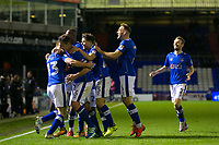 Oldham Athletic's Eoin Doyle celebrates scoring his side's second goal with team mates during the Sky Bet League 1 match between Oldham Athletic and Rochdale at Boundary Park, Oldham, England on 18 November 2017. Photo by Juel Miah/PRiME Media Images