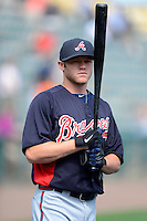 Atlanta Braves infielder Tyler Pastornicky #1 during practice before a Spring Training game against the Detroit Tigers at Joker Marchant Stadium on February 27, 2013 in Lakeland, Florida.  Atlanta defeated Detroit 5-3.  (Mike Janes/Four Seam Images)