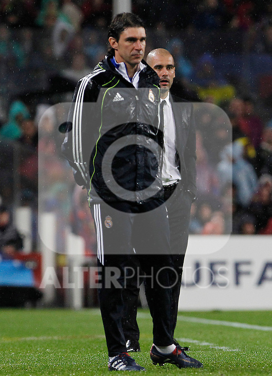 FC Barcelona's coach coach Pep Guardiola (r) and Real Madrid's Second coach Aitor Karanka during UEFA Champions League match.May 3,2011.(ALTERPHOTOS/Acero)