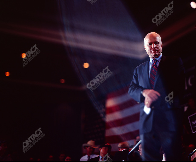 """Senator John McCain (R-AZ), potential Republican candidate for President, campaigning for """"Super Tuesday"""" votes. St. Louis, Missouri, February 1, 2008."""
