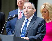 "Rabbi Marvin Hier, president Simon Wiesenthal Center, offers a prayer prior to United States President Donald J. Trump signing a Proclamation designating May 4, 2017 as a National Day of Prayer and an Executive Order ""Promoting Free Speech and Religious Liberty"" in the Rose Garden of the White House in Washington, DC on Thursday, May 4, 2017. Photo Credit: Ron Sachs/CNP/AdMedia"