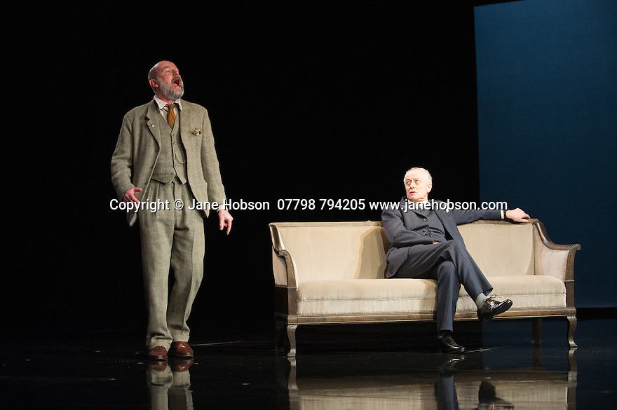 WASTE, by Harley Granville Barker, directed by Roger Michell, opens at the National Theatre. Picture shows: Paul Hickey (Justin O'Connell), Gerrard McArthur (Lord Charles Cantilupe).