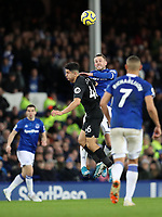 11th January 2020; Goodison Park, Liverpool, Merseyside, England; English Premier League Football, Everton versus Brighton and Hove Albion; Gylfi Sigurdsson of Everton competes with Steven Alzate of Brighton and Hove Albion for the ball in the air - Strictly Editorial Use Only. No use with unauthorized audio, video, data, fixture lists, club/league logos or 'live' services. Online in-match use limited to 120 images, no video emulation. No use in betting, games or single club/league/player publications