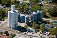 aerial photograph grain storage bins Redfield Coop, Redfield, Iowa