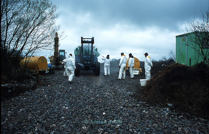 MAFF disinfection teams at the site of infected pyre Chulmleigh,  Devon