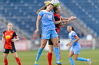 Bridgeview, IL, USA - Saturday, April 23, 2016: Chicago Red Stars forward Sofia Huerta (11) and Western New York Flash midfielder Samantha Mewis (5) during a regular season National Women's Soccer League match between the Chicago Red Stars and the Western New York Flash at Toyota Park. Chicago won 1-0.