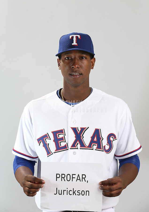 Feb. 20, 2013; Surprise, AZ, USA: Texas Rangers shortstop Jurickson Profar poses for a portrait during photo day at Surprise Stadium. Mandatory Credit: Mark J. Rebilas-