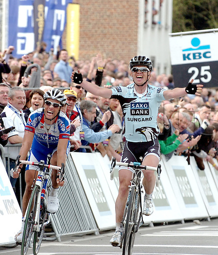 04.04.2011. Tour des Flanders Belgium.  Saxo Bank - Sungard 2011, Quick Step 2011, Nuyens Nick, Chavanel Sylvain, Ninove