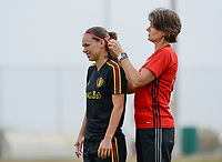 20180304 - LARNACA , CYPRUS :  Belgian Jassina Blom (left) pictured with Physiotherapist Fabienne Van De Steene (r)  during a Matchday -1 training from The Belgian Red Flames prior to their game against Austria , on Sunday 4 March 2018 at the Alpha Sports Grounds in Larnaca , Cyprus . This will be the third game in group B for Belgium during the Cyprus Womens Cup , a prestigious women soccer tournament as a preparation on the World Cup 2019 qualification duels. PHOTO SPORTPIX.BE | DAVID CATRY