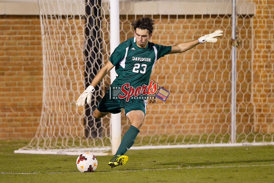 Matt Pacifici (23) of the Davidson Wildcats takes a goal kick during second half action against the Wake Forest Demon Deacons at Spry Soccer Stadium on October 22, 2013 in Winston-Salem, North Carolina.  The Demon Deacons defeated the Wildcats 4-0.  (Brian Westerholt/Sports On Film)