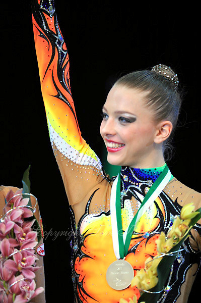 Melitina Staniouta of Belarus celebrates Event Final medal at 2010 World Cup at Portimao, Portugal on March 14, 2010.  (Photo by Tom Theobald).