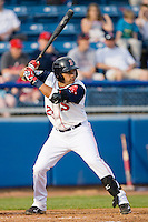 Ryan Dent #22 of the Salem Red Sox at bat against the Kinston Indians at Lewis-Gale Field May 1, 2010, in Winston-Salem, North Carolina.  Photo by Brian Westerholt / Four Seam Images