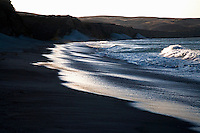 The beach at sunset on Santa Rosa Island, one the the Channel Islands in Channel Islands National Park, California.