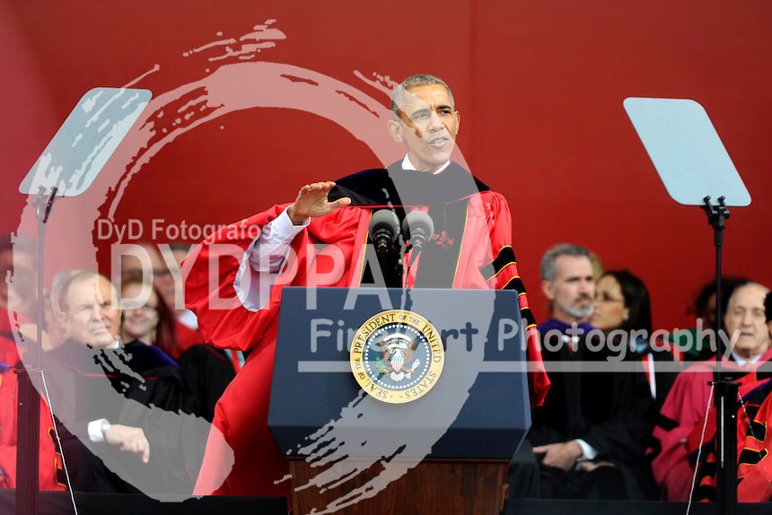 President Barack Obama receives honory degree and gives the commencement speech at Rutgers University's 250th anniversary on May 15, 2016 in New Brunswick, New Jersey