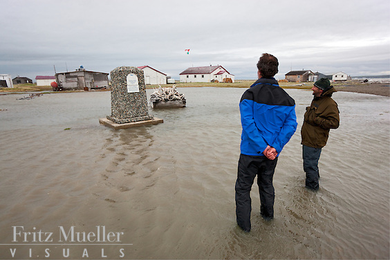 High tide and storm surge flood park monument at Herschel Island Territorial Park, Herschel Island, Yukon