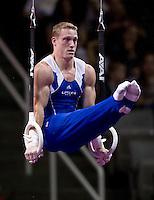 Steven Legendre of Hilton HHonors competes on the rings during the 2012 US Olympic Trials competition at HP Pavilion in San Jose, California on June 28th, 2012.