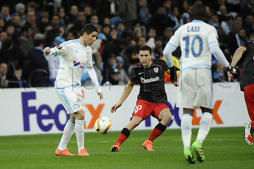 18.02.2016. Marseille, France. UEFA Europa league football. Marseille versus Athletic Bilbao.  Barrada (OM) lays the ball off to Lass