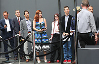 02 August 2017 - Universal City, California.  Sean Hayes, Debra Messing, Eric Garcetti, Megan Mullally, Eric McCormack. 'Will & Grace' start of production kick off event and ribbon cutting ceremony at Universal Studios Photo Credit: PMA/AdMedia