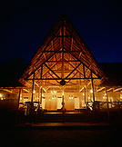 PERU, Amazon Rainforest, South America, Latin America, illuminated Tambopata Research Center at night.