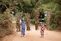 Women carrying wood, Bagan, Myanmar