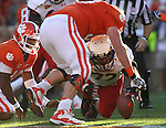 November 10, 2012; Clemson, SC, USA; Maryland Terrapins defensive tackle Joe Vellano (72) recovers a Clemson Tigers Tahj Boyd (10) fumble in the first half at Memorial Stadium in Clemson, SC. Mandatory Credit: Brian Schneider-www.ebrianschneider.com