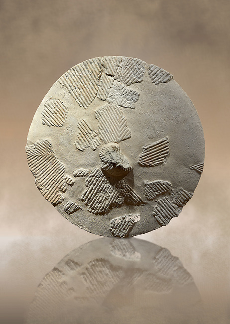 9th century BC Giants of Mont'e Prama  Nuragic stone shield, Mont'e Prama archaeological site, Cabras. Museo archeologico nazionale, Cagliari, Italy. (National Archaeological Museum)