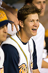 Montgomery Biscuits Shortstop Reid Brignac laughs at the antics of performer Myron Noodleman (not pictured) at Riverwalk Stadium in Montgomery, AL, Friday, August 18, 2006.